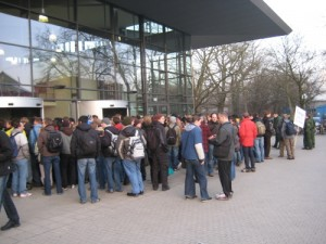 Andrang vor dem Audimax anlässlich der Schäuble-Rede